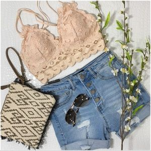 ✨LAST ONE✨ Lace Bralette with Padding-cream-blush
